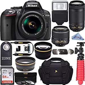 Nikon D5300 24.2 MP DSLR Camera AF-P DX 18-55mm & 70-300mm NIKKOR Zoom Lens Kit + 64GB Memory Bundle + Photo Bag + Wide Angle Lens + 2x Telephoto Lens+ Flash+ Remote+Tripod+Filters &Linen Zone Cloth