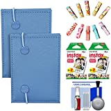 Fujifilm Instax Mini Accordion Photo Album (Blue) (2 Pack) with 40 Twin Prints + Wood Peg Clips + Cleaning Kit