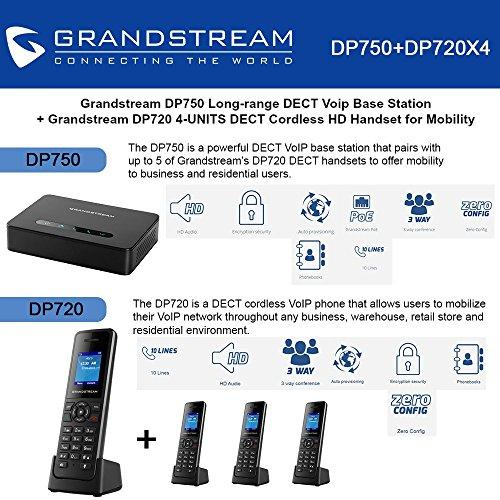Grandstream DP750 Long-range DECT Base Station + DP720 4-UNITS DECT HD Handset