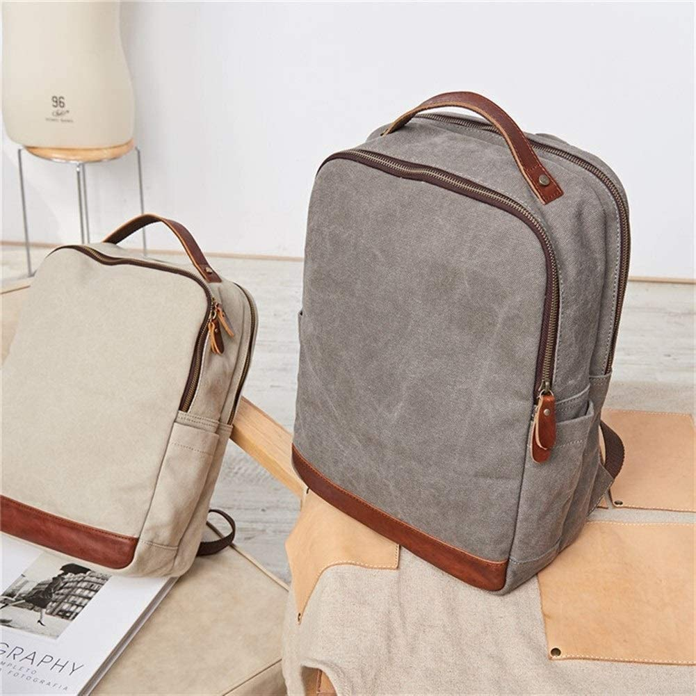 School Backpack Bag 15 Inch Laptop Canvas Large Capacity Fashion Backpack Business Travel Leisure Color : Gray, Size : 313912cm