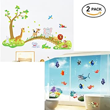 Room forest jungle nursery animal fish kids wall decals decor stickers decorations for boys walls pack