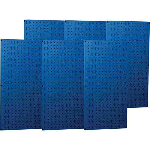 Wall Control Industrial Metal Pegboard - Blue, Six 16in. x 32in. Panels, Model# 35-P-3296BU