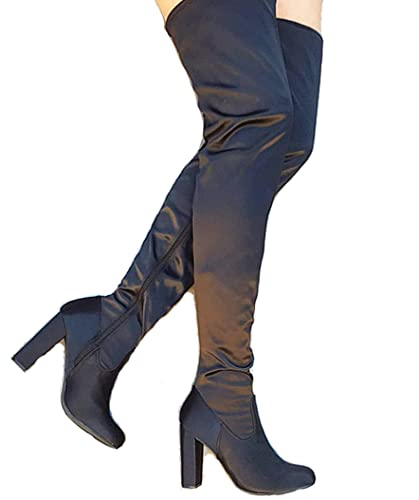 6be8190cedf Women s Suede Over The Knee Boots Chunky Heels String Riding Women s Shoes  Dasia-h1 (