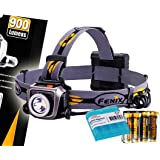 Fenix HP15UE (HP15 UE) Ultimate Edition 900 Lumens Iron Gray Expedition Headlamp with 4x AA Batteries and LumenTac…