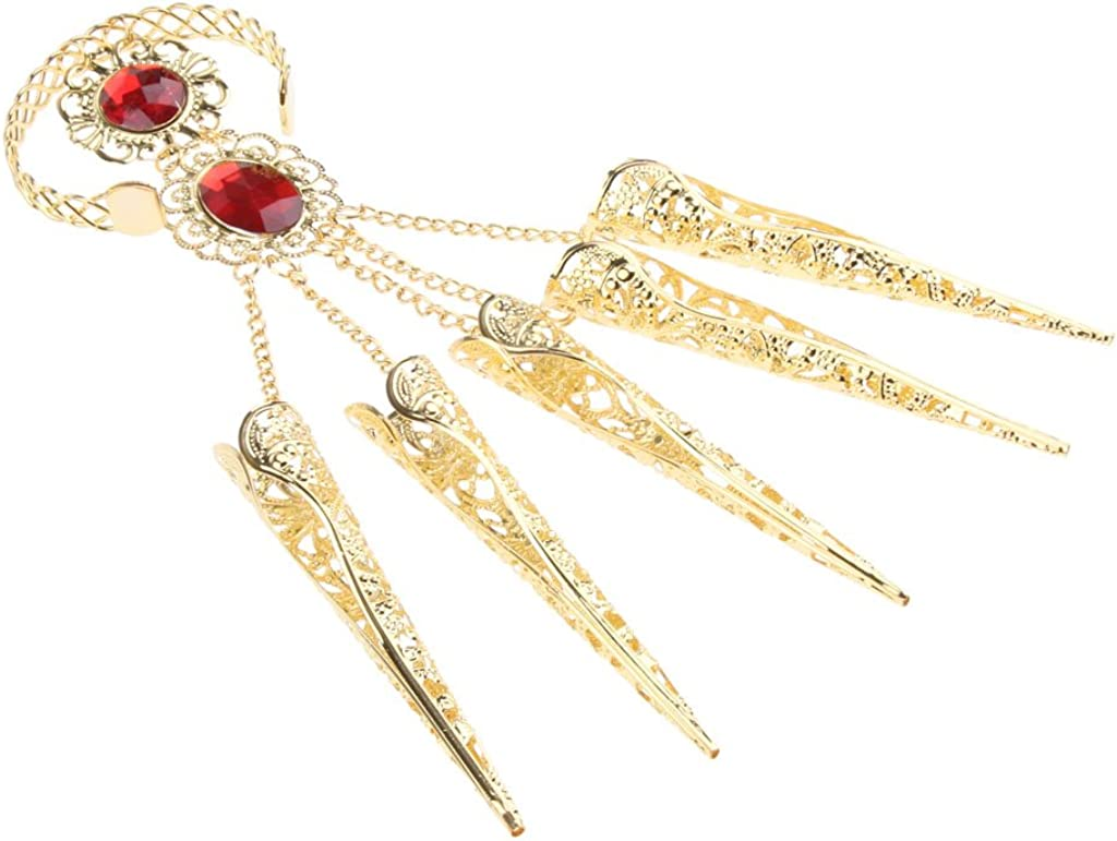 4x Indian Dance Gold Bracelet with Long Finger Nails for Costumes for Dancer