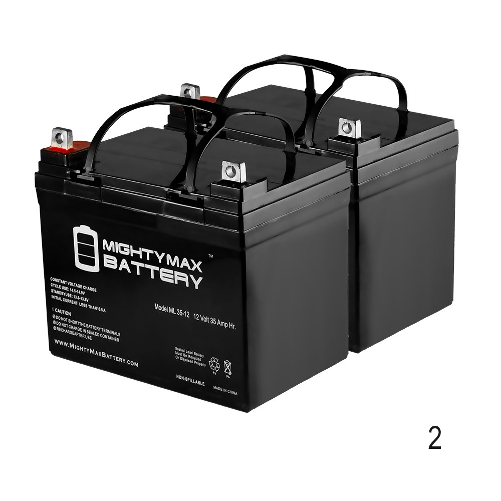 12V 35Ah SLA Battery Replaces Interstate DCM0035 Wheelchair - 2 Pack - Mighty Max Battery brand product