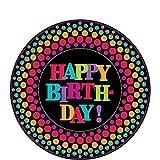 Amscan Happy Birthday Rainbow Polka Dotted Round Dessert Plates, Black /Multicolored, 7''
