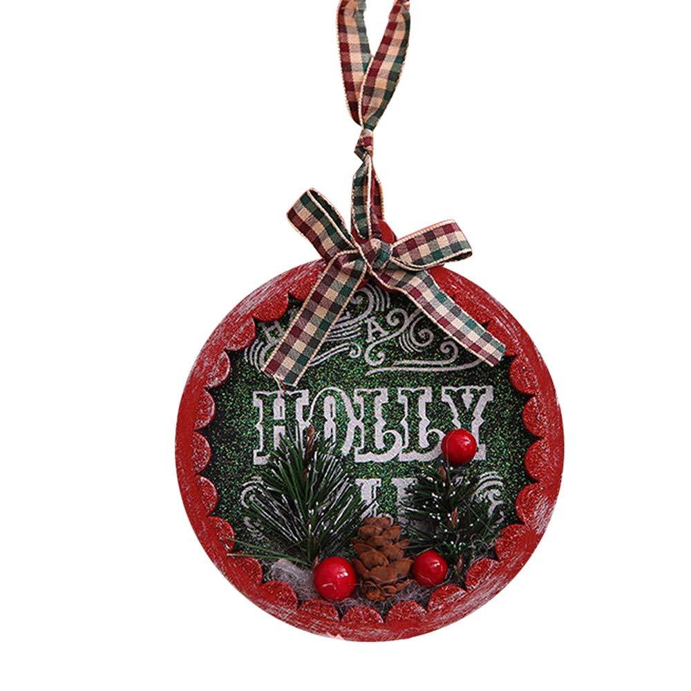 Yezijin Christmas Tree Ornaments, Hanging Pendant Desktop Decoration Mini Lovely Wooden Party Decor Christmas (A)