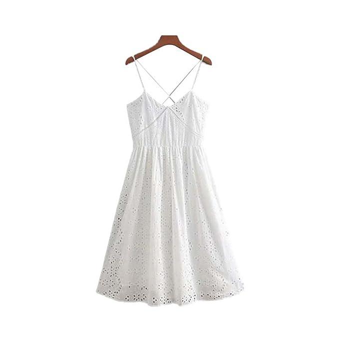 b837dfcebf Homesuns Embroidery midi Dress V Neck Hollow Out Eyelet Sleeveless  Spaghetti Straps Backless Dresses Vestidos