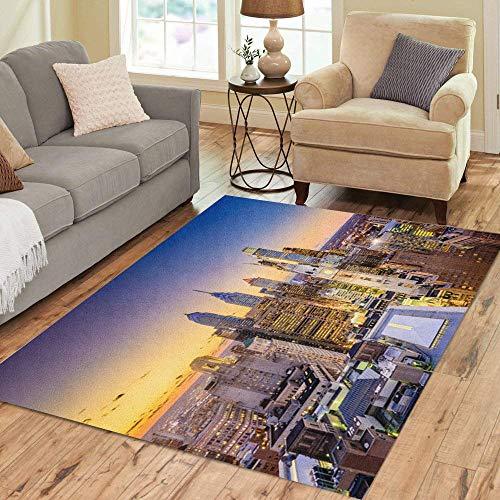 (Pinbeam Area Rug Cityscape Philadelphia Pennsylvania USA Downtown City Skyline Architecture Home Decor Floor Rug 5' x 7')