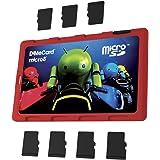 DiMeCard micro8 microSD Speicherkartenhalter ROTE ANDROID LICHTRAD EDITION (ultraflaches Kreditkartenformat etui, beschreibbar)