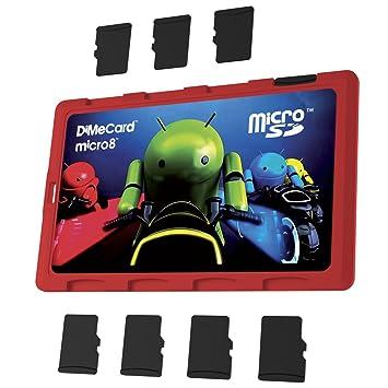 DiMeCard Micro8 - Soporte para tarjeta de memoria microSD (edición de cilindro ligero, tamaño ultra delgado, tamaño de tarjeta de crédito, etiqueta ...
