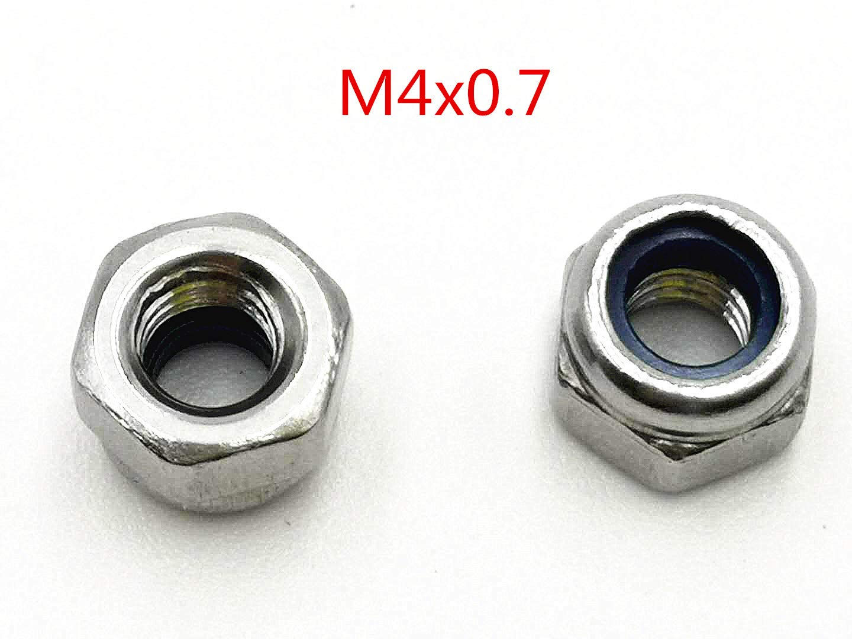 M4 x 0.7mm Stainless Steel Nylock Self-Locking Nylon Insert Hex Lock Nuts 100pcs