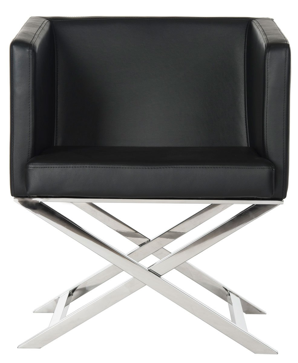 Safavieh Home Collection Celine Black and Chrome Modern Glam Bonded Leather Cross Leg Chair