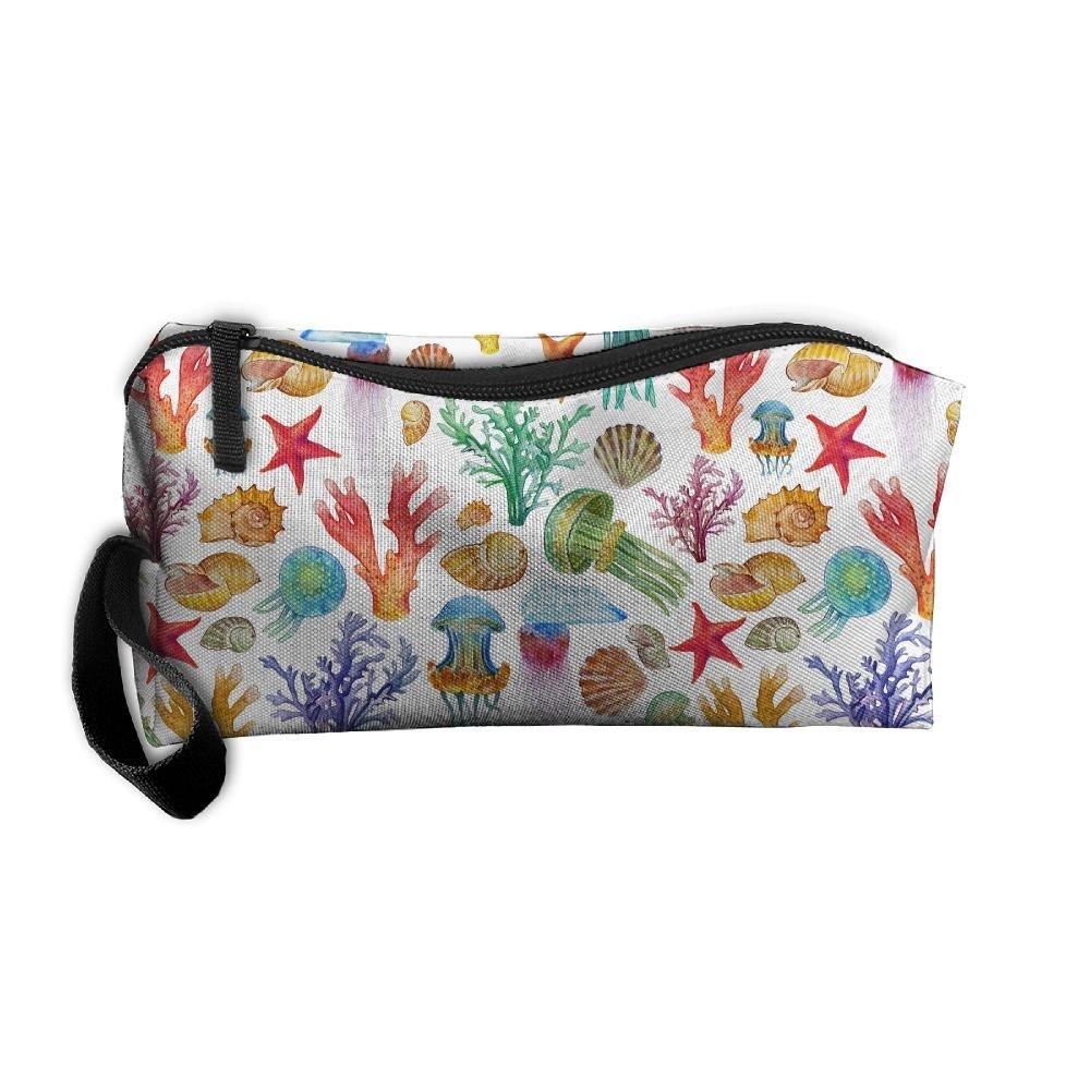 ddebfe232f5f good Watercolor Sea Bottom Pattern Pattern Makeup Bag Calico Girl ...