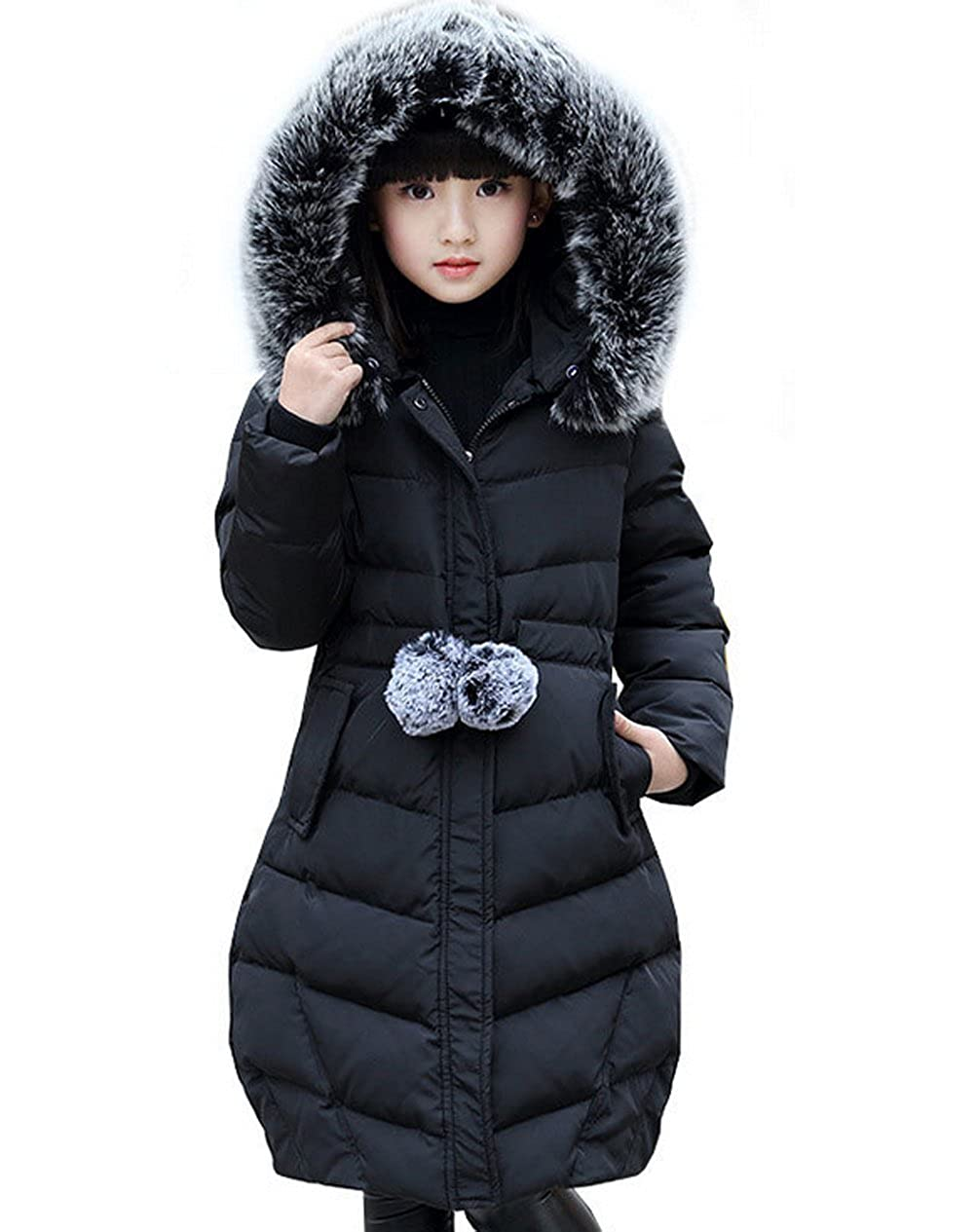 Maison Jardin Piumino Girl warm parka winter Bambino Parka Jacket Hooded Long Coat Faux Fur Jacket Winter Warm