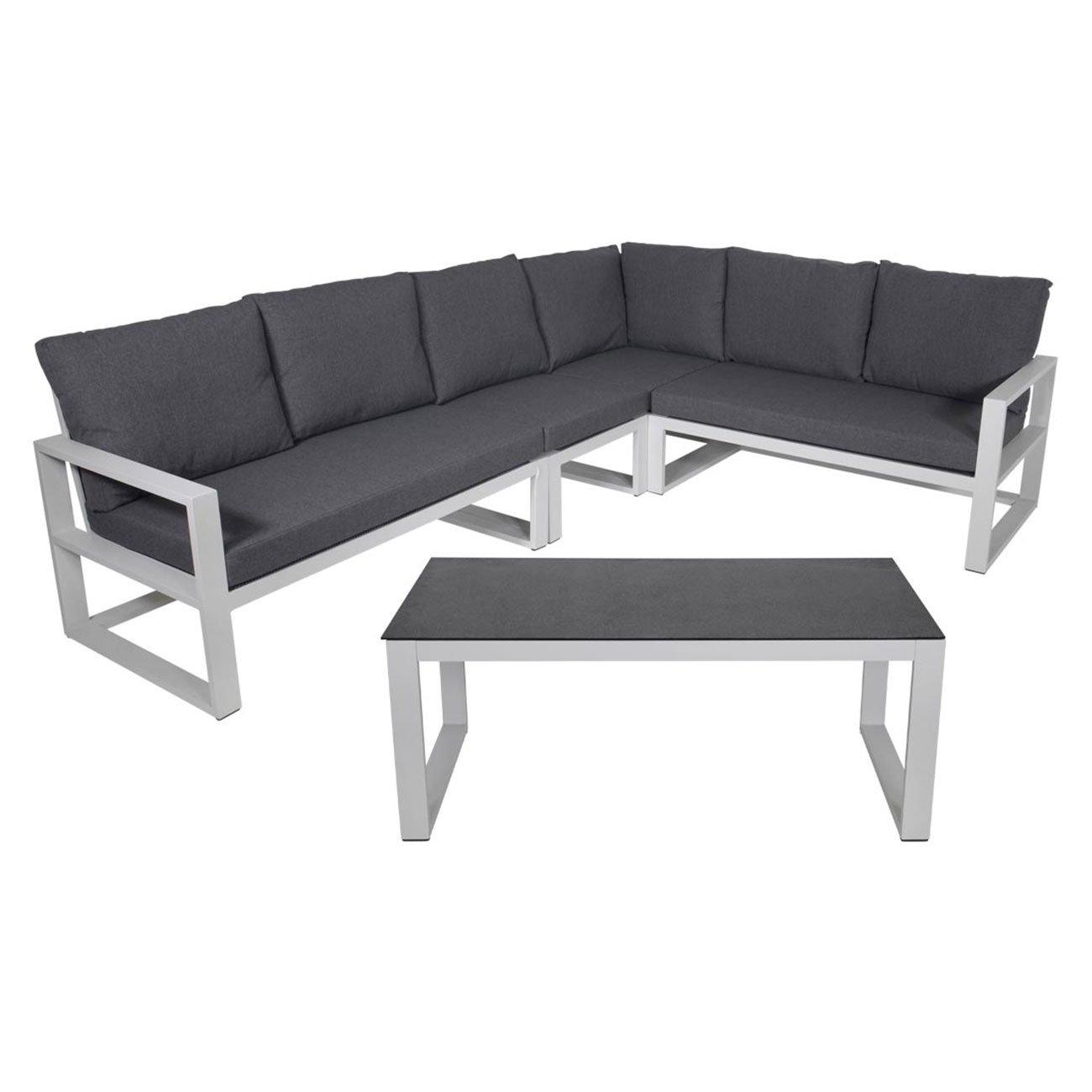 gartenlounge outliv pina colada loungeset 5 teilig aluminium wei grau kissen anthrazit 701259. Black Bedroom Furniture Sets. Home Design Ideas