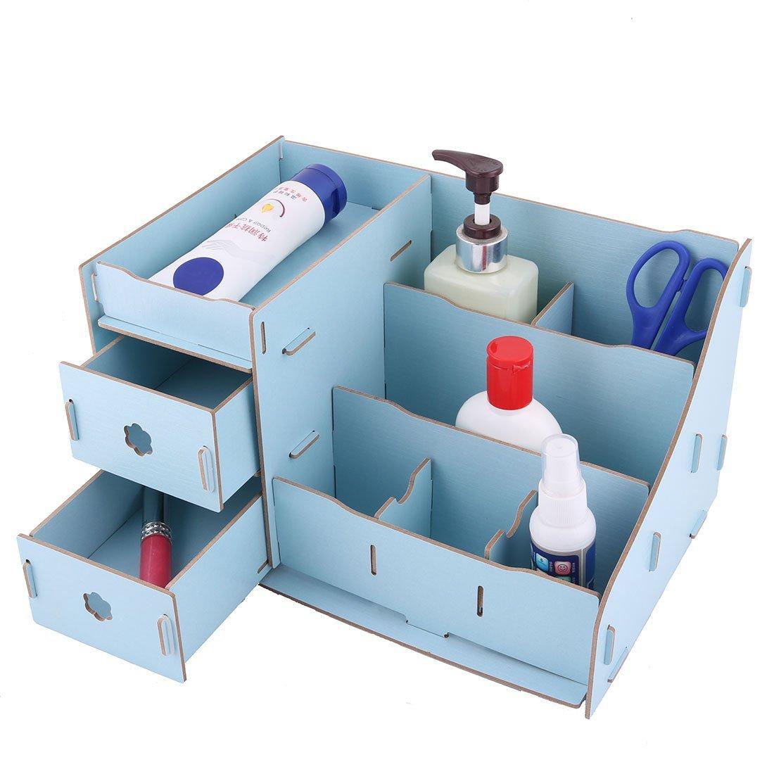 Amazon.com : eDealMax escritorio de Madera mesa de maquillaje extraíble Misceláneas del organizador del almacenaje Caja de Blue Sky : Office Products
