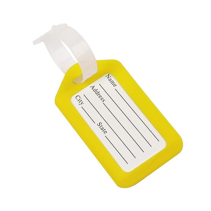 TiaoBug 2pcs Etiquetas de Equipaje Maleta Bolsa Identificador Dirección Tarjeta con Bolsa Impermeable para Las Maletas de Viaje Multifunciones Amarillo ...
