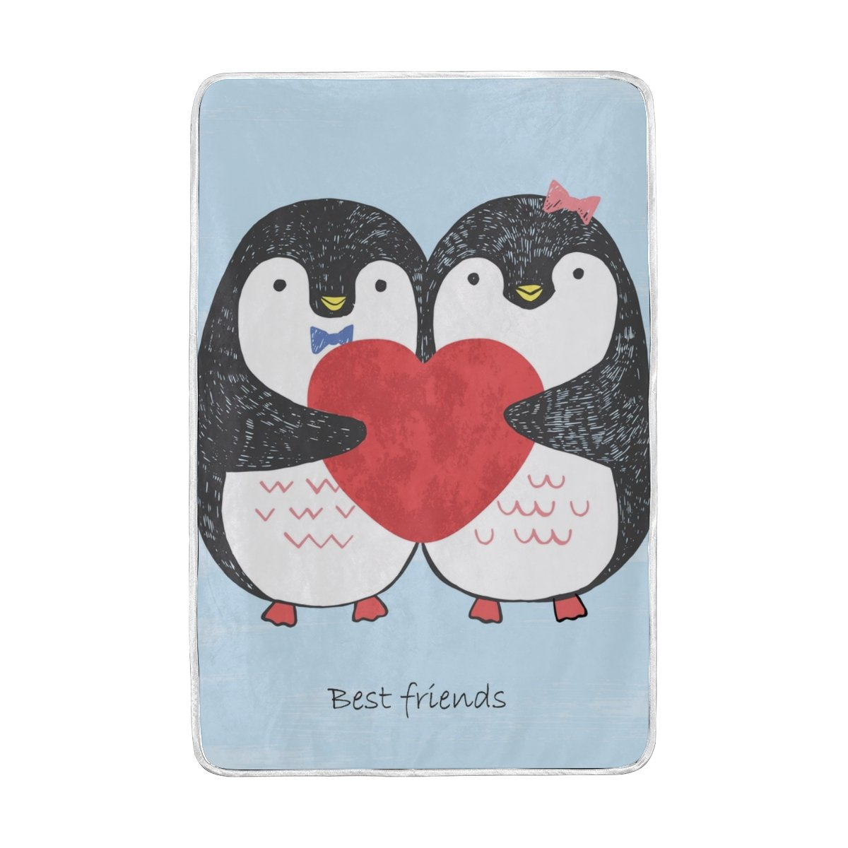 Vantaso Soft Blankets Throw Valentine Sketch Loving Penguins with Scratched Heart Microfiber Polyester Blankets for Bedroom Sofa Couch Living Room for Kids Children Girls Boys 60 x 90 inch
