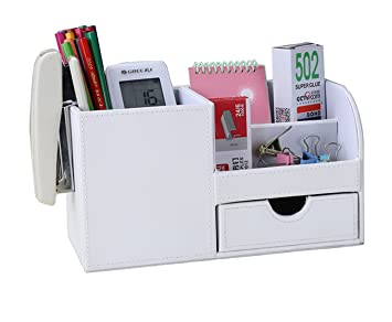 kingfom desk organiser tidy caddy leather pen pencil pots holder stationery storage office desktop supplies organisers