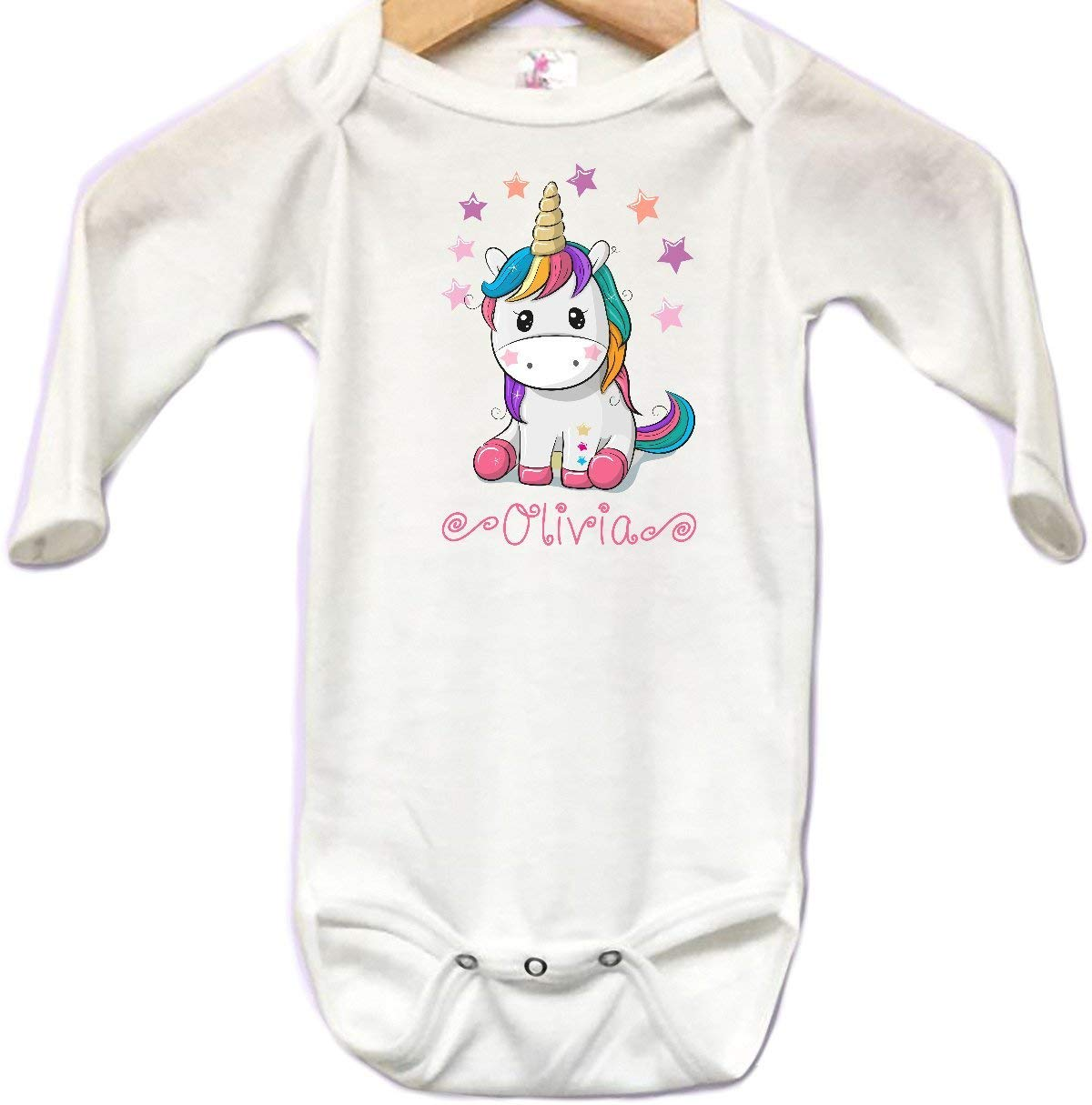 Unicorn Colorful Stars Pink Baby Onesie Bodysuit Long Sleeve Cute Personalized Custom Name 0 to 3 mos or 3 to 6 months or 6-12 months for Girls