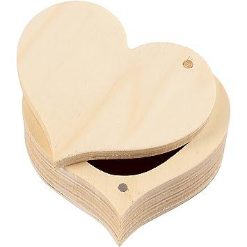 Caja, corazón, A: 9 cm, A. 4 cm, madera contrachapada, 1ud, medida interior 6,7×2,6 cm