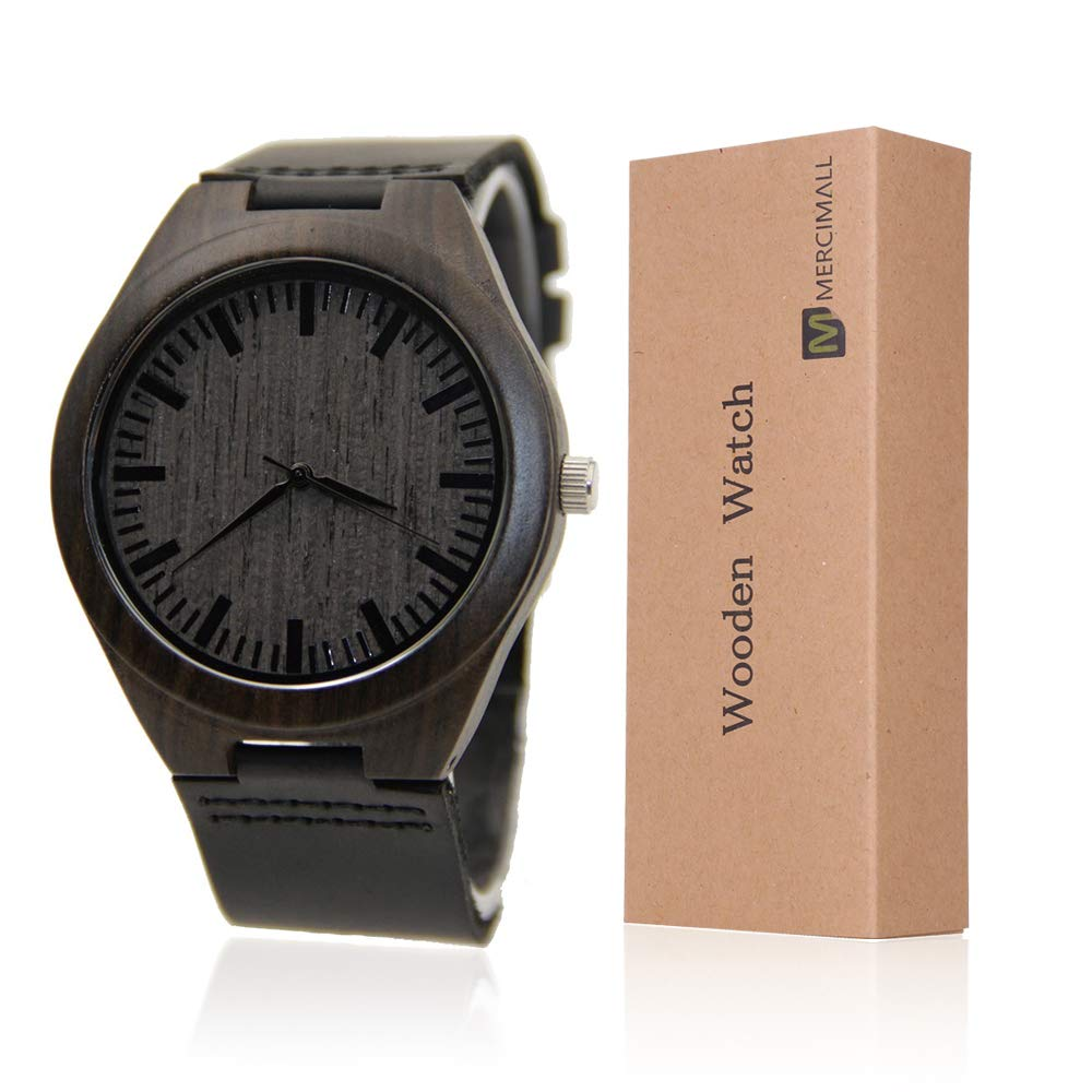 Mens Wood Watch with Black Leather Strap Handmade with Groomsman Gift Anniversary WristWatches
