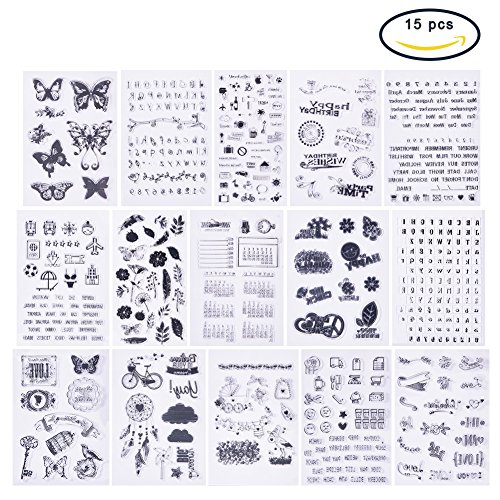 PH PandaHall 15 Sheets Clear Stamps Silicone Transparent Stamp Seal for Cards Making DIY Scrapbooking Photo Card Album Decoration ()