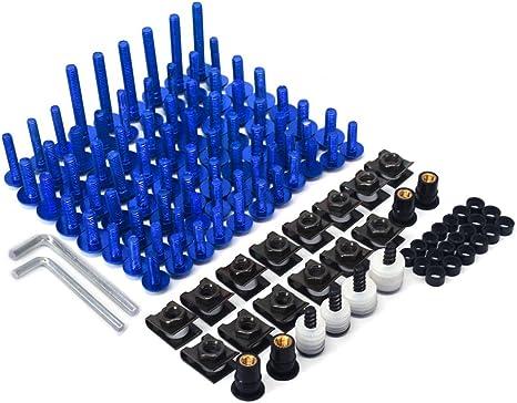 Blue CNC Aluminum Universal Billet Complete Motorcycle Windscreen Fairing Bolts Kit Fastener Clip Bodywork Screws Nut For YZ125 YZ250 YZ250F YZ450F WR250F WR450F