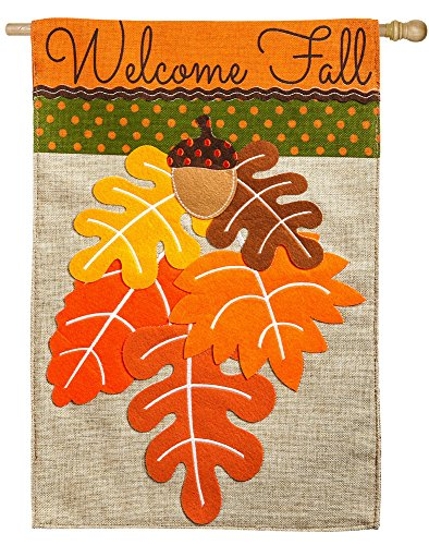 Evergreen Welcome Fall Leaf Bouquet Burlap House Flag, 28 x