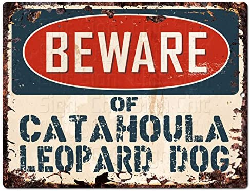 PPDG0175 Beware of CATAHOULA LEOPARD DOG Plate Rustic TIN Chic Decor Sign