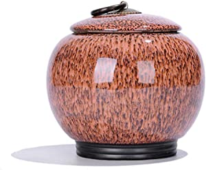 Ornamental Ceramic Kitchen Canisters, Antique Food Storage Jar with Airtight Seal Lid, Cereal Storage Canister for Coffee, Sugar, Tea, Spice and More (Orange)