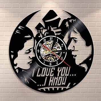 MUZIDP Negro Redonda Disco de Vinilo Reloj de Pared,Retro Vinilo Reloj de números Romanos Reloj de Pared,Familia Reloj de Pared Decorativo-A 12inch: ...