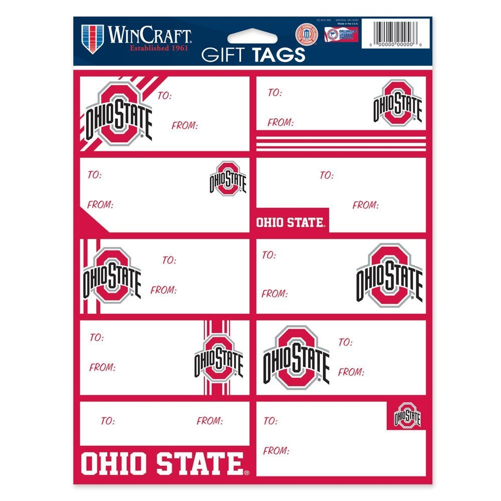 NCAA Ohio State Buckeyes Gift Tag Sheet