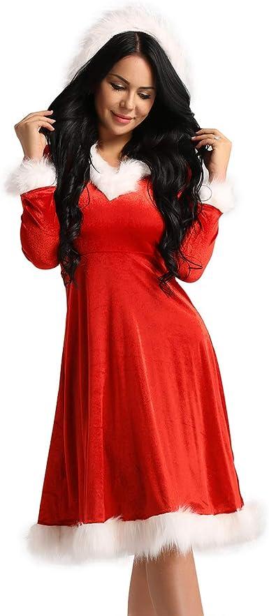 Alvivi Robe de Noël Manches Longues Femme Fille Hiver Vintage Robe à  Capuche Velours Mère Noël Longue Robe de Cocktail Soirée Manteau  Déguisement Mère