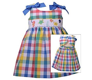 09812eb24d903 Image Unavailable. Image not available for. Color  Bonnie Jean Little Girls  Smocked Plaid Sea Dress (12 ...