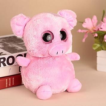 Goolsky 20cm ojos grandes rellenos pequeño cerdo rosa grandes ojos animales juguete de peluche Navidad y