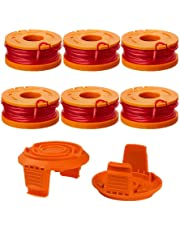 "Thten Edger Spools Replacement for Worx WG180 WG163 WA0010 Weed Wacker Eater String with WA6531 GT Spool Cover 50006531 String Trimmer Refills 10ft 0.065""(6 Spool, 2 Cap)"