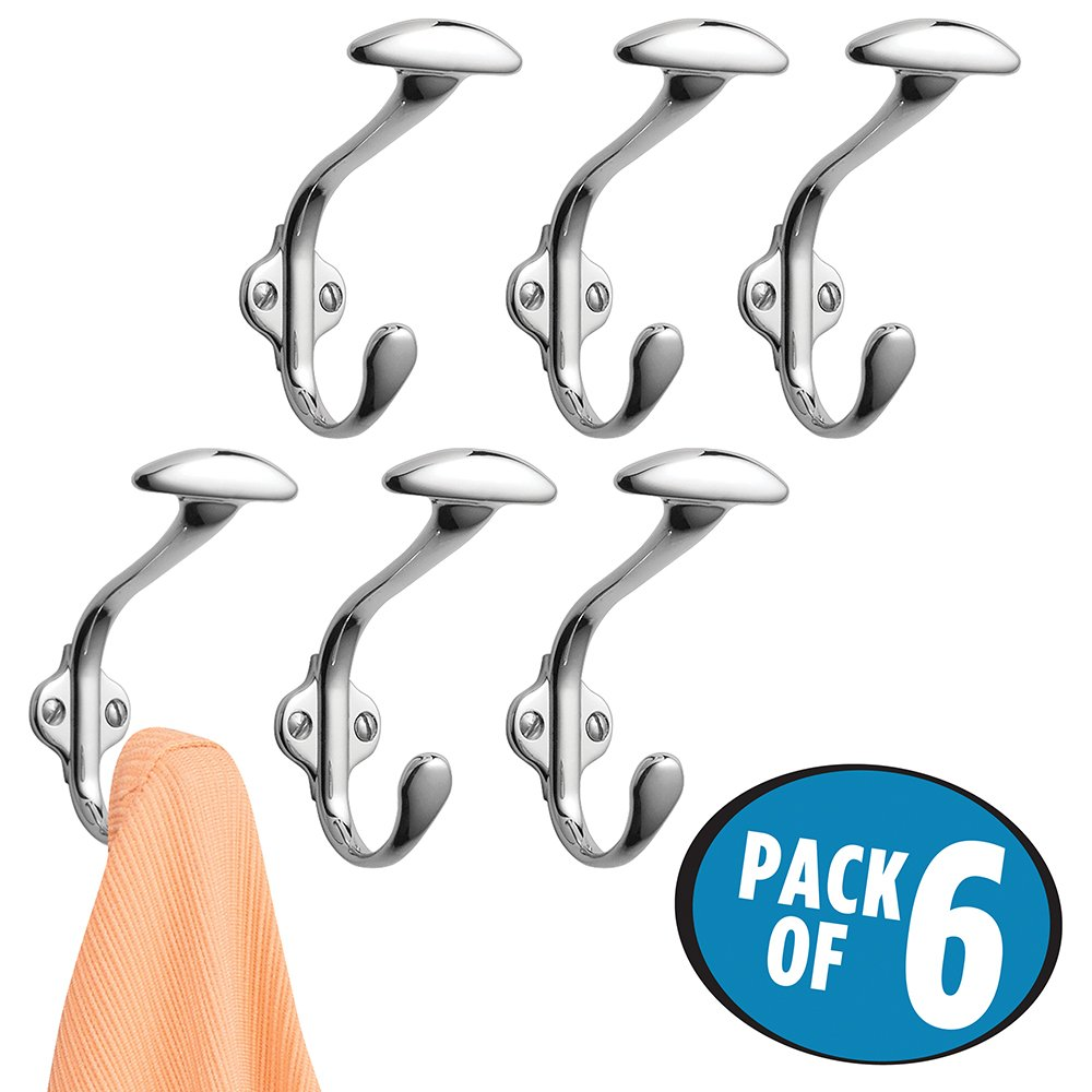 mDesign Wall Mount Entryway Storage Spa Hook for Jackets, Coats, Hats, Scarves - Pack of 6, Chrome