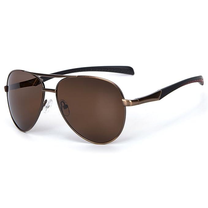 a36407c9fe1 YJMILL New Polarized Sunglasses Retro Pilots Riding Fishing Golf Travel  Sports Sunglasses Men 8075 (Brown