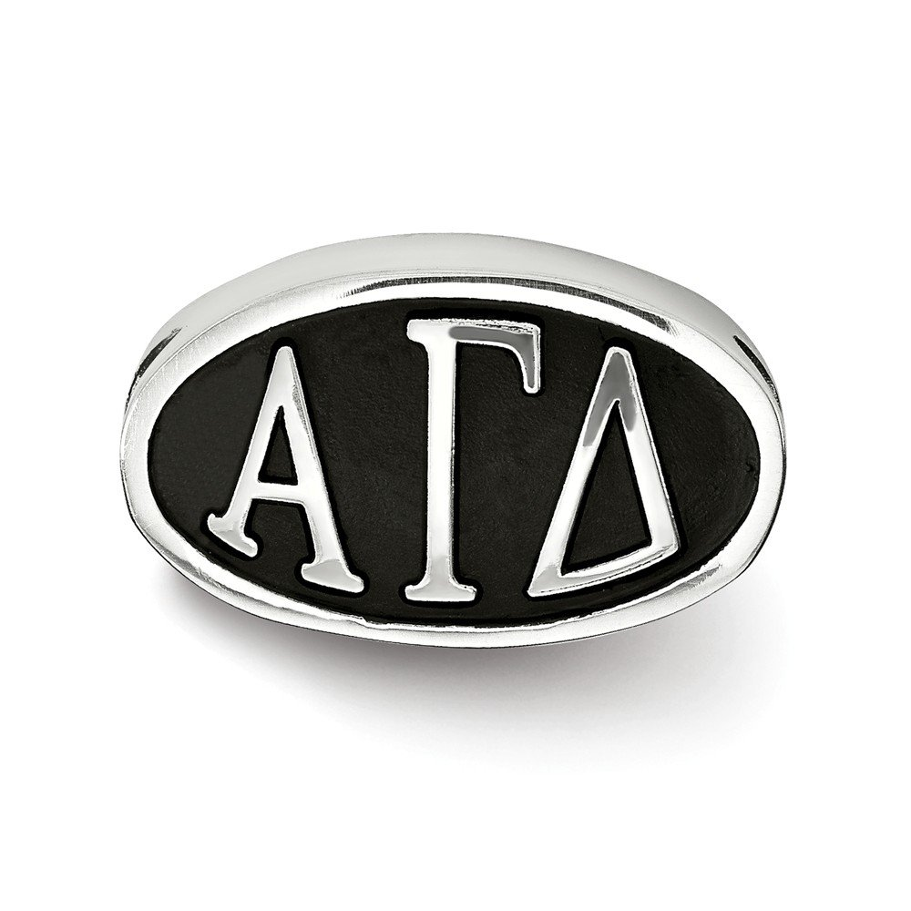 Solid 925 Sterling Silver Alpha Gamma Delta Oval Letters Bead Charm Very Small Pendant