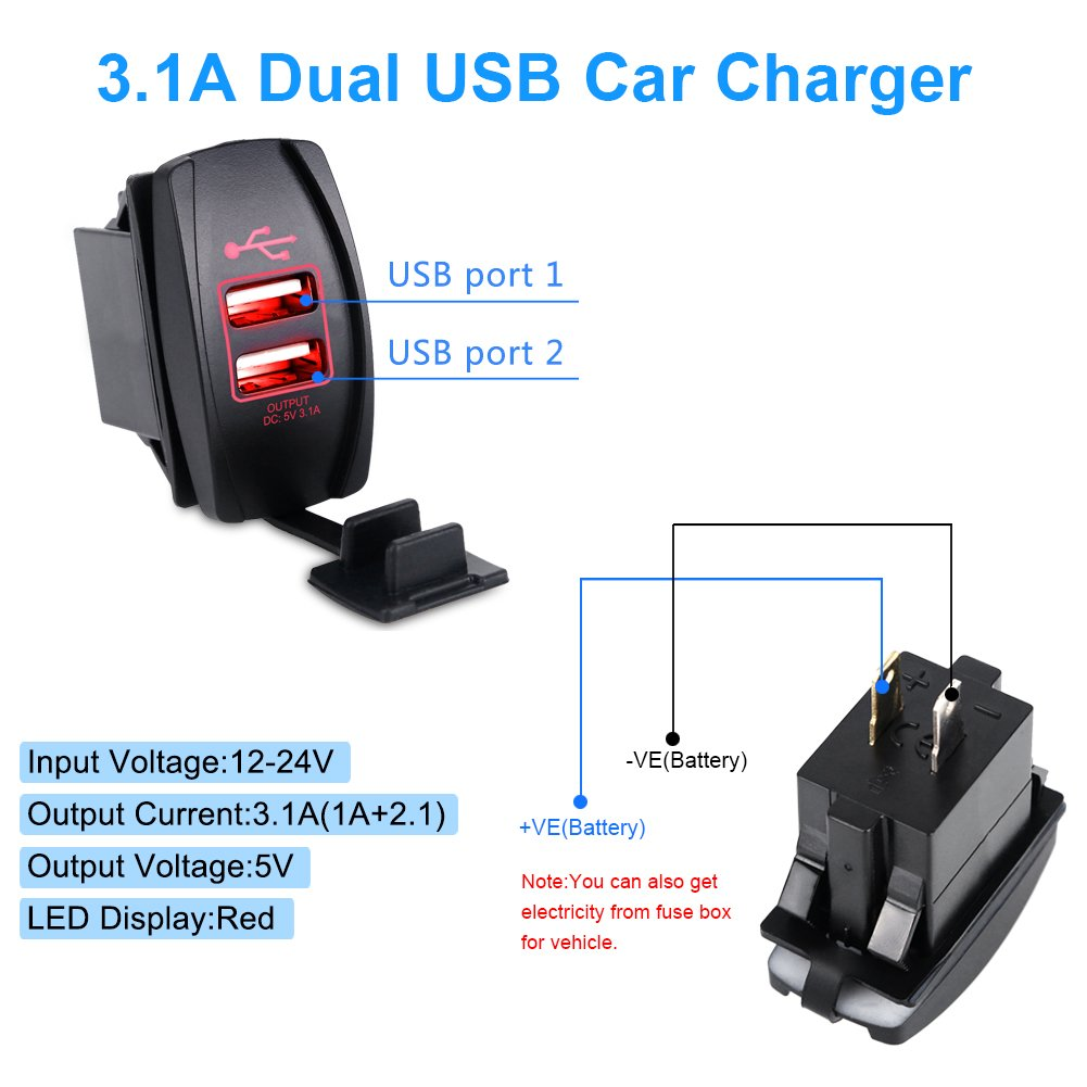 Waterwich 5v 31a Marine Dual Usb Car Charger Adapter Fuse Box To Socket Waterproof With In Line And Digital Voltmeter For Universal Rocker Switch Boat
