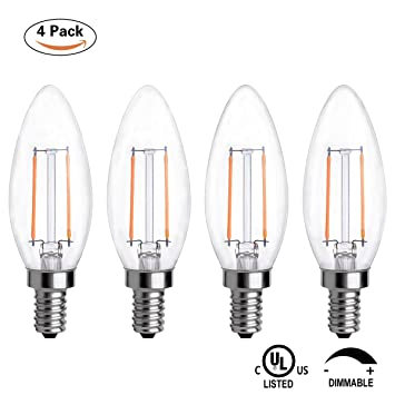 TIMI Lighting Dimmable LED Candelabra Bulb 2W, LED Chandelier Bulb ...