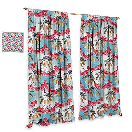 (Rowan Patterned Drape for Glass Door Hand Painted Branches of Ashberries with Leaves Artistic Display Patterned Drape for Glass Door W72 x L84 Pale Blue Pink Pale Coffee )