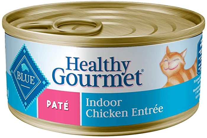 Blue Buffalo Healthy Gourmet Natural Adult Pate Wet Cat Food, Indoor Chicken 5.5-oz cans (Pack of 24)