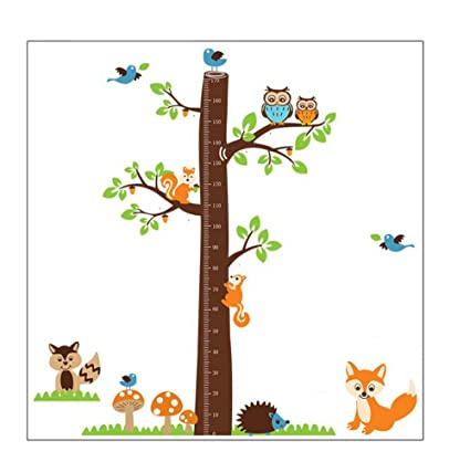 Forest Animals And Owl With Tree Growth Chart Vinyl Wall Decal For