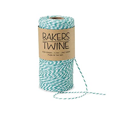 Bakers Twine - 240 Yards 4 ply Cotton (Teal & White) : Office Products