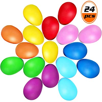 Wpxmer 24 Pack Colorful Egg Shakers, Plastic Eggs with 8 Colors Musical Eggs Toys for Easter Party Supplies: Musical Instruments