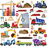 Big City Construction Wall Decals - Wall Art for Kids Rooms - Fun Trucks Cranes and Building Vehicles